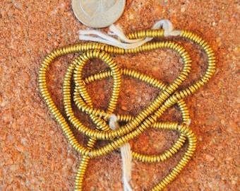 African Brass Heishi Beads 3.5x1mm 2 Strands