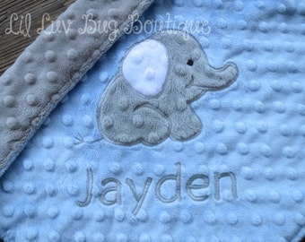 Personalized minky baby blanket- baby blue and grey elephant- lovey blanket