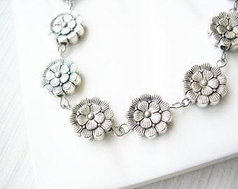 Silver Flower Necklace - Modern Jewelry, Long, Metal, Simple, Metallic, Boho, Bohemian