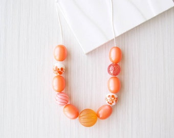 Orange Necklace, Nickel Free Jewelry, Sterling Silver, Mixed Beads, Lampwork Glass, Vintage Lucite, Artsy