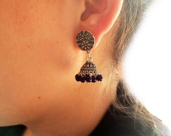 TRIBAL SILVER Earrings,Jhumka Earrings with Blue beads,Silver Jhumkas,Kucchi Earrings,Silver dome Indian Jewellery Taneesi Jewelry