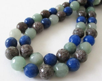 "Blue Agate Faceted Round Beads - Round Ball Agate - Assorted Colors Blue Gray Green Beads - Natural Stone - 10mm - 16"" - Diy Jewelry Making"