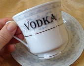 Vodka Tea Cup and Saucer Teatime Steampunk Set