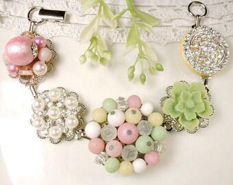 Pastel Pink & Mint Green Bridal Bracelet, Pearl Rhinestone Vintage Cluster Earring Bracelet, Bridesmaid Jewelry Wedding Gift, Set 3 4 5 6