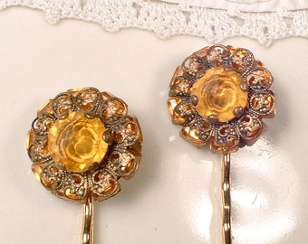 PAIR Vintage Topaz Amber Rhinestone Bridal Hair Pins, Autumn Wedding Bobby Pins, Antique Gold Jeweled Heirloom Hair Clips Set of 2 Orange