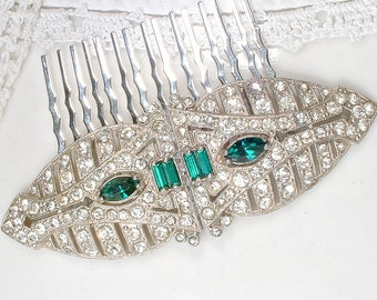 OOAK 1920s Emerald Green Bridal Hair Comb,  Antique Art Deco Dress Clips to Hair Piece, Pave Rhinestone Vintage Gatsby Flapper Jewelry 20s