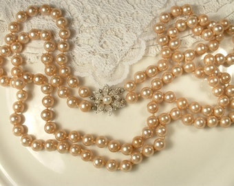 """Vintage Art Deco Blush Champagne Pearl & Rhinestone Two Strand Necklace, Long Ivory Glass Pearl Bridal Necklace Ornate Clasp Pave Paste 26"""""""
