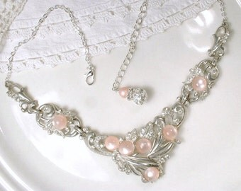 1940s Dusty Blush Pink & Clear Pave Rhinestone Necklace, Vintage Art Deco Bridal Statement Necklace, Silver Moonstone Bib, Great Gatsby