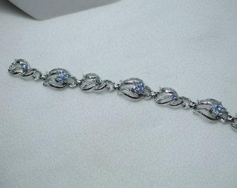 Vintage Aqua Blue Rhinestone Silver Tone flower Bracelet