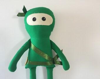 Green Ninja Doll, Boy Doll, Modern Plush Doll, Modern Fabric Doll, Rag Doll, Cloth Ninja Doll, Her Bunnies Three