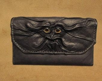 "Grichels leather ladies wallet - ""Snundhoof"" 26292 - black with golden brown fish eyes"