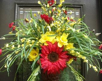 Summer Door Wreath, Wall Floral Arrangement, Grassy Summer Wreath, Sunflower Wall Pocket, Red And Yellow Everlasting Sunshine