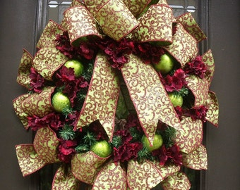 Burgundy and Lime Christmas Wreath, Ribbon Wreath, Hydrangea Wreath, Holiday Wreath, Front Door Wreath, Holiday Decor