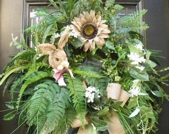 Wild Bunny Wreath, Easter Bunny Wreath, Spring Wreath, Easter Wreath, Burlap Sunflower Wreath,