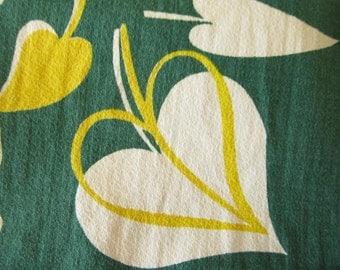 Vintage Print Barkcloth Panels, Fabric, Yardage, leaf, squiggle, midcentury, retro