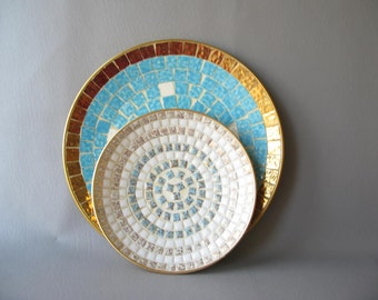 Vintage Mosaic Plate, Midcentury, platter, decorative