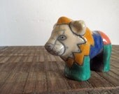 Whimsical Vintage Colorful Patchwork Pottery Lion Figurine