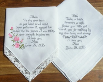 Best Seller Mom and Dad Wedding Gift Gift for Mom Gift for Dad Accessories Embroidered Wedding Handkerchiefs Wedding Gift Canyon Embroidery