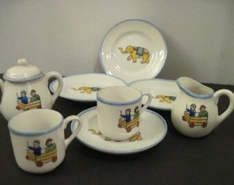 Vintage Child Tea Set, Children and Wagon, Elephant Plates
