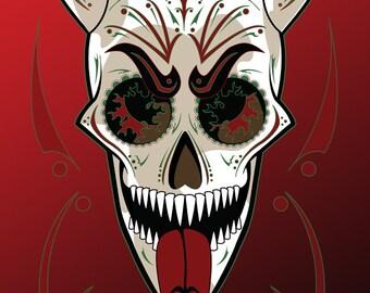 Krampus Sugar Skull Print 11x17 print