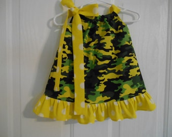 Girls pillowcase dress limegreen camo with your choose of tie/ruffle infant thru 7/8 years