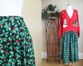 Ugly Christmas Sweater Party Skirt Vintage Holiday Maxi Holly Small Medium