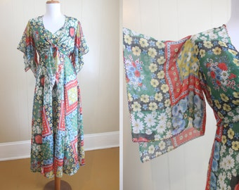 Maxi Dress 70's Vintage Patchwork Print Angel Sleeve Bolero XS