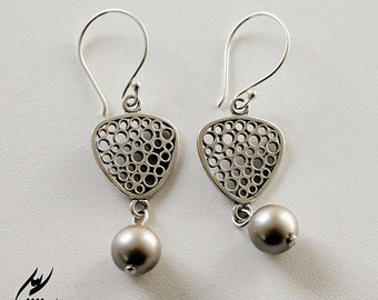 Platinum Swarvoski Pearls with Triangular Sterling Silver Filigree Earrings, Bridal Wedding Jewelry, designbybehin