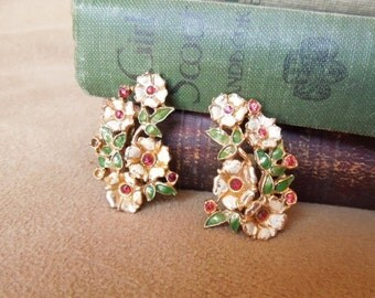 END of SUMMER SALE Vintage 60's Earrings, Floral Bouquet Clip on Earrings, White Green Red Gold Enamel with Rhinestones, Mid Century, Rockab
