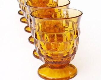 Amber Juice Glasses Whitehall Footed Drinkware Cube Pattern Set of Six Vintage Tumblers