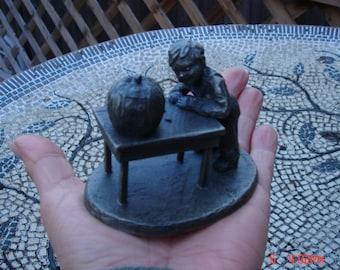 Robert Drury Pewter Sculpture - Boy Carving a Jack o Lantern - Sweet