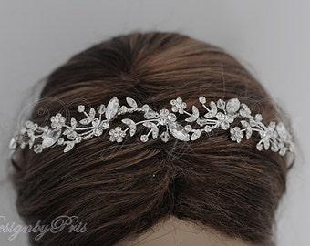 HPH7 Navette Bridal Headpiece.Wedding Accessories Bridal Rhinestone Floral with  Clear Crystals Headband