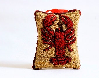 Ready to Ship! Maine Lobster Christmas Ornament. Punchneedle Holiday Home Decor. Red and Gold. Maine Balsam Fir Sachet. Handmade Ornament