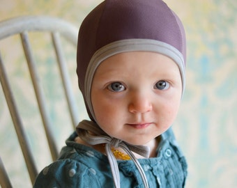Baby pilot hat, mesh hearing aid hat, baby cap, hat with ties, lavender hat, snug fit hat, stretchy hat, emmifaye hat, baby gift, toddler