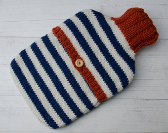 Knitted Hot water bottle Cover Navy and Cream Stripes wool and alpaca