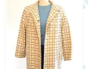 ON SALE wool coat - womens plaid overcoat - 50s - 60s single breasted jacket