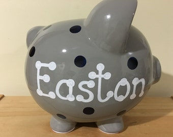 Personalized Birth Announcement Large Grey Navy Polka Dots Stripes Piggy Bank  Newborns , 1st  Birthday , Ring Bearer ,Baby Shower Gift