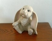 Vintage Scioto Mold - Hand Painted Hollow Ceramic Long Eared Sitting Bunny Rabbit - 1988