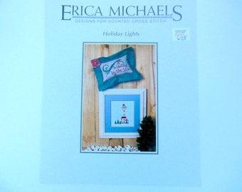 Erica Michaels Cross Stitch Pattern, Holiday Lights, Lighthouse, A Holiday By the Sea, Cross Stitch Pattern, Christmas Cross Stitch,