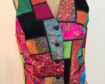 Vibrant Asian Silk and Velvet Vintage CAROLE LITTLE Patchwork Vest M