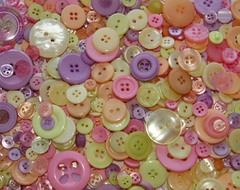 25 Pastel Buttons,Tropic Sherbet Mix, Rainbow, Easter, Pink, Yellow, Lavender, Melon, Assorted sizes,Grab Bag Crafting  (1269)