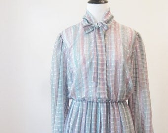 1960s Party Dress Pastel Vintage Light Pink Green Check Plaid Large L Balloon Sleeve Puff Long Sleeve Below the Knee Indie Secretary Bow