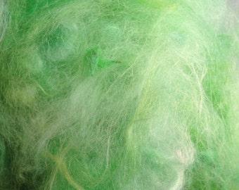Build a Batt Suri Alpaca fiber art add in green 1.5 oz