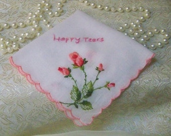Happy Tears Handkerchief, Hanky, Hankie, Embroidered, Ladies, Floral, Pink, Ready to ship