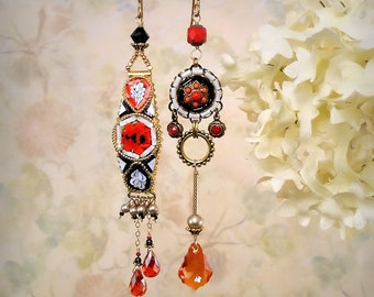 Mosaic Garden Asymmetrical Earrings Romantic Red Rose Vintage Italian MicroMosaic Red Orange Black Blue White Gypsy Boho Festival Jewelry