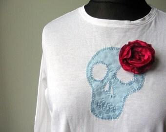White Skull T-Shirt, Halloween T Shirt, Day of the Dead Clothing, Skull Shirt, Dia de los Muertos, Upcycled Shirt, Sugar Skull Tops