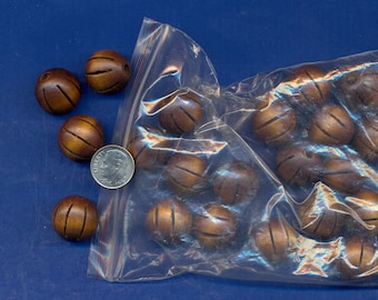 Pack of 25 fluted round wooden beads which are 18mm, Brown, Large hole