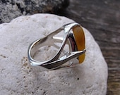 Yellow Sea Glass Beach Glass Ring
