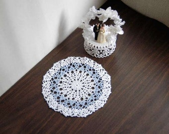 Something Blue Crochet Lace Doily, Modern Table Decor, Wedding Decoration, Handmade
