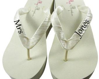 Bridal Flip Flops, Ivory Wedge White Platform Flip Flops- Mrs New Last Name, Black/Many Colors- Heel Platform